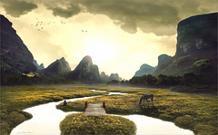- h - (Jean-Michel Priaux) Tags: bridge sunset horse cloud sun mountain art nature fairytale river painting landscape paint graphic fantasy valley pont paysage savage mattepainting littlebridge heroicfantasy paintingmatte paintmapping