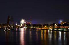 Mediaspree (jan-patrickmeyer) Tags: light berlin night river germany deutschland licht nacht firework fernsehturm spree feuerwerk flus