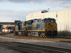 CSX freight passing through downtown Nashville, TN (Mark S Horne) Tags: railroad train tn nashville railway freight csx containertrain