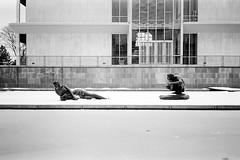 AA022 (elsuperbob) Tags: sculpture snow architecture kodak michigan detroit modernism nymph waynestateuniversity olympusxa faun trix400 minoruyamasaki newtopographics giacomomanz