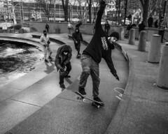 Love Park, 2016 (Alan Barr) Tags: street people blackandwhite bw philadelphia monochrome lumix mono blackwhite skateboarding candid streetphotography panasonic sp skateboard streetphoto lovepark 2016 gx8