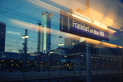 Frankfurt (Florian Btow) Tags: city travel blue light sky station architecture train germany golden evening am frankfurt main hesse