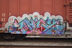 PEPE (TheGraffitiHunters) Tags: street pink blue white black art car train graffiti colorful paint purple box gray tracks spray boxcar pepe freight benched benching