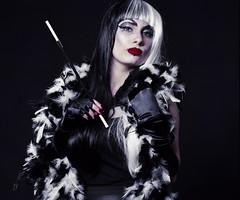 Cruella 10 (AberrationObscura) Tags: portrait film mediumformat studio drag model kodak dressup disney 120film fantasy 100 villain deville props cruel cruella ektar rb67 mamiyarb67 filmphotography