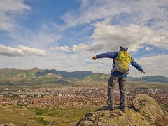 Above Prilep (rante_to4ak) Tags: above city houses sky people rock clouds landscape town view macedonia backpack prilep makedonija varos