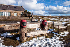 Biker's commemorative bench (allybeag) Tags: snow bench cafe seat bikers pennines hartside motorbikers bikersbench