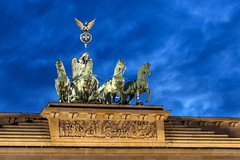 Blue Chariot (OlegSokol) Tags: travel berlin architecture night germany gate