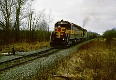 Copper Ore (Hoist!Man) Tags: railroad film wisconsin train fuji pentax wc locomotive provia northwoods wisconsincentral copperore sd45 emd brantwoodwi