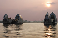 The Thames Barrier - London (Explored) (Mark Wordy) Tags: sunset sun london thames architecture evening riverboat barrier riverthames defences woolwich silvertown thamesclipper floodbarriierthe
