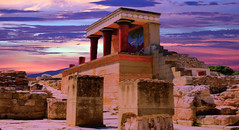 Minoan Palace Ruins (Spence..) Tags: sunset red sky building stone architecture canon outdoors temple design artwork ancient focus ruins colours stonework traditional steps palace crete pillars heraklion minoan spence canon6d angspence canon24105l