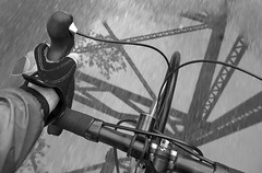 2016-04-10 riding after the rain (Robert Couse-Baker) Tags: reflection wet bike bicycle hand ride handlebar 2016 366 trussbridge