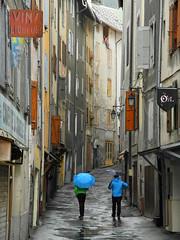 Two (umbrellas) in Brianon (Giangaleazzo) Tags: street city blue windows girls mountain france mountains alps water rain weather climb nikon tour village watch via finestra coolpix vicolo alpi pioggia francia montagna citt savoia briancon lifeinthestreets hautesalps