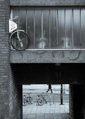 Bristol, April 2016(4) (S.R.Murphy) Tags: street blackandwhite bw abstract monochrome bike bicycle bristol mono text streetphotography cycle socialdocumentary reportage april2016 fujix100t