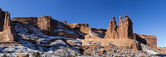 Three Gossips Panorama (Alfred J. Lockwood Photography) Tags: winter snow nature landscape utah nationalpark sandstone afternoon archesnationalpark rockformation threegossips alfredjlockwood