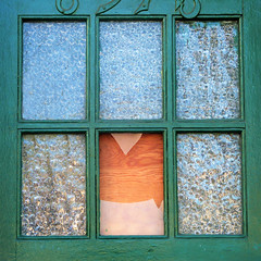 no pane no gain (msdonnalee) Tags: verde green glass vert windowdetail windowpane windowframe plywood verte brokenwindow frostedglass doorwindow zerbrochenesfenster ventanarota finestrarotta  janelaquebrada    plywoodpatch fentrecass