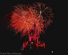 Castle in Red (Scottwdw) Tags: longexposure travel red vacation night hub orlando florida fireworks tripod filter wishes nd waltdisneyworld magickingdom fantasyland cinderellacastle neutraldensity 3stop afsnikkor24120mmf4gedvr