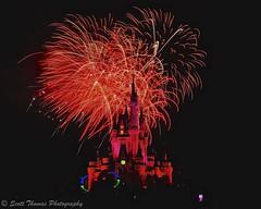 Castle in Red (Scottwdw) Tags: longexposure travel red vacation night hub orlando florida fireworks tripod filter wishes nd waltdisneyworld magickingdom fantasyland cinderellacastle neutraldensity 3stop afsnikkor24120mmf4gedvr