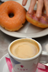 Caf con leche (Thomas Roland) Tags: city travel pink espaa coffee caf valencia by milk spain europa europe hand with sweet tourist doughnut stadt bagel bagels latte doughnuts leche con spanien mlk valncia
