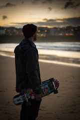 A Common Interest (First_Light_Photography) Tags: sunset sea portrait sun beach water set landscape golden bay cornwall surf natural surfer newquay surfing hour skate skateboard skater cruiser watergate