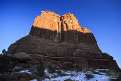 Tower of Babel - Arches National Park (Alfred J. Lockwood Photography) Tags: winter snow nature zeiss landscape utah nationalpark sandstone afternoon moab archesnationalpark rockformation towerofbabel alfredjlockwood