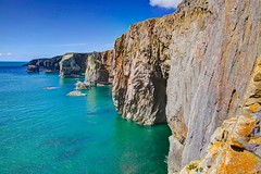 April skies (pauldunn52) Tags: blue wales teal cliffs east limestone range pembrokeshire castlemartin