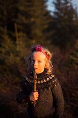 In the woods (Dalla*) Tags: trees boy sunset portrait sun wool nature outside outdoors evening iceland sweater kid twilight woods child low sharp pines stick headlight heimrk zone pullover icelandic sidelight skgrkt