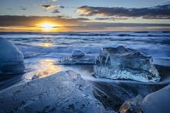 Ice Beach (D-Niev) Tags: ice beach sunrise iceland wave iceblock jkulsarlon icebeach