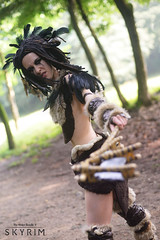 Kill Them (DrosselTira) Tags: fur costume outfit cosplay 5 magic feathers v elder axe reach cosplayer crow tes raven scrolls witchmen ravager skyrim forsworn tesv