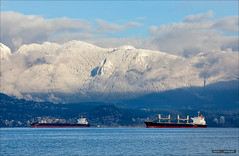 Snow Capped North Shore Mountains (Clayton Perry Photoworks) Tags: christmas winter snow canada mountains vancouver boat ship bc spanishbanks christmasday northshoremountains explorebc explorecanada