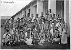 Dad in Group Photograph, 1944, Trincomalee in Ceylon Now Sri Lanka (dark-dawud) Tags: old boy camp people blackandwhite men girl children fun happy asia dad child smiles photograph ww2 srilanka ceylon 1944 trincomalee towson monocrome garlands royalnavy lungi fleetairarm tambaram militarycamp groupphotograph frederickgeorge hmsbarbara fx54453y hmsvalluru