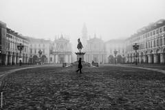 Morning mist in Piazza San Carlo (matteo bossa) Tags: mist torino fuji fujifilm nebbia turin piazzasancarlo x100t