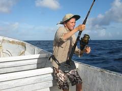 Ziggy reeling in a big one (Jeff Goddard 32) Tags: fishing belize gloversatoll oceanfishing