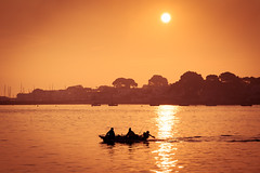 Early Morning Fishing (*Hairbear) Tags: sea water silhouette sunrise fishingboat channel sandbanks brownseaisland