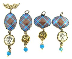 CUSTOM ORDER FOR JENNIFER Ancient Romance Series - Scottish Tartans Collection - Anderson Ancient Wedding Pendants with Rose Floral Bail and Charms