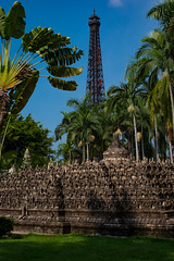 Paris and Indonesia (Linus Wrn) Tags: china asia eiffeltower palmtrees guangdong shenzhen themepark borobudur windowoftheworld