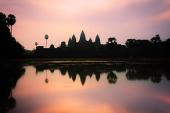 Sunrise over Angkor Wat (johnnyarmaosphotography) Tags: longexposure reflection architecture backlight sunrise temple ruins cambodia khmer sony buddhism wideangle angkorwat nd siemreap angkor reflectingpool hinduism carlzeiss ndfilter kampuchea a7ii neutraldensity khmerempire