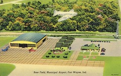 Baer Field, Municipal Airport, Fort Wayne, IN (Guy Clinch) Tags: airplane 1930s airport postcard