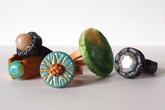 Ring Bling (CreateMyWorldDesigns) Tags: wire handmade ring rings clay faceted faux opal gem shank polymer pcagoe