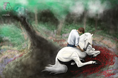 """""""Everlasting Friendship"""" - Digital Painting ( S. D. 2010 Photography) Tags: horse white man guy digital painting grey spain drawing dream peaceful human stallion rendering equine andalusian handdrawn lusitano stuntrider benatkinson"""
