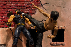 Bruce Lee vs. Kenshiro (MadMartigen) Tags: toy actionfigure brucelee mma kenshiro revoltech fistofthenorthstar shfiguarts