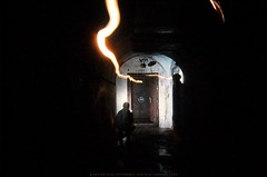 The bunker is closed,  but the light of his soul is passing through it... (LeoniArt) Tags: door light tunnel bunker speleology speleological