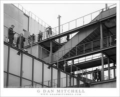 Terraces, Stairways, Sky (G Dan Mitchell) Tags: street city windows sky people urban blackandwhite newyork monochrome museum architecture stairs chelsea exterior manhattan terraces whitney renzopiano