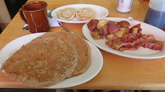 Apple walnut pancakes (Coyoty) Tags: wood red food brown white color apple cup coffee pancakes breakfast bread table restaurant bacon cafe potatoes sweet coffeecup connecticut toast walnut ct diner meat pork setting fried tablesetting hartford greasyspoon englishmuffin homefries mosmidtownrestaurant