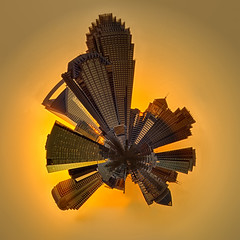 golden charlotte mini planet (DigiDreamGrafix.com) Tags: city winter sunset sun art beautiful yellow wall skyline architecture buildings poster landscape gold golden nc nice skyscrapers charlotte peekaboo pano awesome horizon surreal northcarolina mini panoramic planet dope qc queencity goldish
