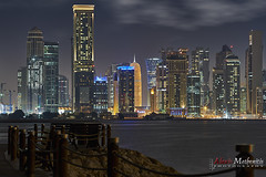 Night Lights X, Doha (Alexis Methenitis) Tags: longexposure nightphotography blue sunset sea sky people green skyline night sunrise reflections sony qr doha qatar minoltamdtelerokkor135mmf28 sonya7rii sonyilce7rm2 sonya7rm2 sonya7rmkii metabonesmdtoemki