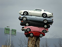 Camaros Rule (knightbefore_99) Tags: party sculpture canada west art monument car vancouver coast cool bc pacific awesome transport detroit camaro rule