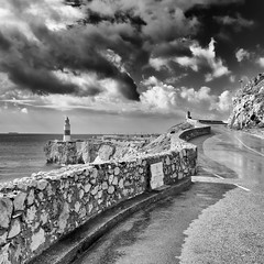 Only This Way... (sebistaen) Tags: canoneos7dmarkii gibraltar sébastienlemercier afterrain black boat europapoint flickr lighthouse sea sebistaen sky white sebistaennet