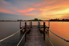 Secret Rendezvous (zollatiff) Tags: travel sunset lake reflection nature colors sunrise landscape evening scenery peaceful orangesky putrajaya oldjetty waterscape secretrendezvous visitmalaysia nikkor1024 nikond7100 zollatiff wawasamdam
