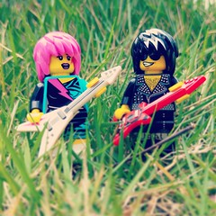 """No, we don't need any electrical power cables when playing electric guitars outdoors, esp in MTV."" (http://MiniPlayHouse.com) #lego #minifigures #rockstar #rock #pop #star #music # MTV #concert #liveband (dadawudawu) Tags: music rock star concert lego rockstar pop liveband minifigures"