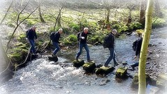 Stepping stonely.. (Mike-Lee) Tags: birthday mike river jill sheffield clones steppingstones clone rivelin 60yearsold cloningabout march2016 yearofbirthdaysilliness